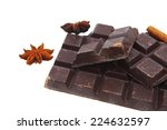 bar of dark chocolate isolated...   Shutterstock . vector #224632597