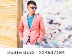 outdoor fashion portrait...   Shutterstock . vector #224637184