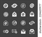 vector e mail icons on dark... | Shutterstock .eps vector #224639977