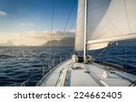 cruising sailiing yacht with... | Shutterstock . vector #224662405