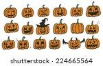 halloween pumpkins set | Shutterstock .eps vector #224665564