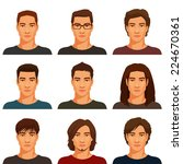 young handsome men with various ... | Shutterstock .eps vector #224670361