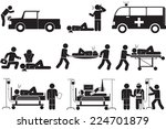 assisting the injured icon set. | Shutterstock .eps vector #224701879