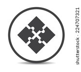 flat designed round puzzle icon.... | Shutterstock .eps vector #224707321