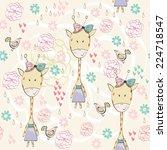fashion giraffe girl. vector... | Shutterstock .eps vector #224718547