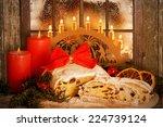 christmas stollen  dresdner... | Shutterstock . vector #224739124