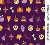 seamless halloween pattern with ... | Shutterstock .eps vector #224749801