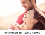 happy young couple in love on a ... | Shutterstock . vector #224773951
