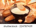 cheese fondue traditional swiss ... | Shutterstock . vector #224787439