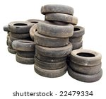 Old Tires Stacked  Isolated On...