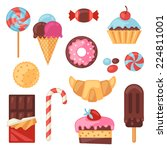 set of colorful various candy ... | Shutterstock .eps vector #224811001