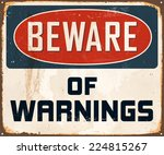 vintage metal sign   beware of... | Shutterstock .eps vector #224815267