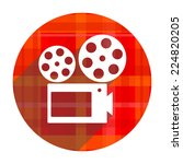 movie red flat icon isolated  | Shutterstock . vector #224820205