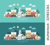 winter   flat design urban... | Shutterstock .eps vector #224821261