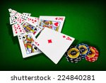 poker combination chips playing ... | Shutterstock . vector #224840281