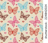 seamless retro pattern with... | Shutterstock .eps vector #224842024