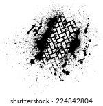 white tire track on black ink... | Shutterstock .eps vector #224842804
