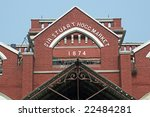 Stuart Hogg Market (1874). Victorian style red brick building housing one of the main markets in the Chowringhee area of Kolkata, India