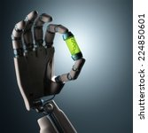 robotic hand holding a test... | Shutterstock . vector #224850601