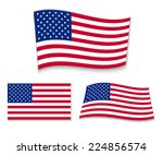 set of american flags. vector... | Shutterstock .eps vector #224856574