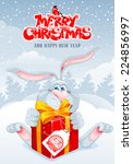 christmas greeting card with... | Shutterstock .eps vector #224856997