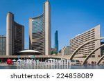 Stock photo toronto canada august the new city hall and nathan phillips square 224858089