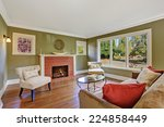 olive tone family room with... | Shutterstock . vector #224858449
