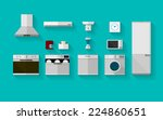 flat vector icons for kitchen...   Shutterstock .eps vector #224860651