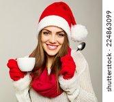 Cute Young Santa Claus Woman...