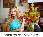 beautiful elegant woman at home ... | Shutterstock . vector #224873725