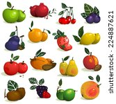fruits and berries collection.... | Shutterstock . vector #224887621