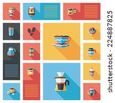 coffee flat ui background set ... | Shutterstock .eps vector #224887825