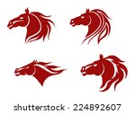 Stock vector red horse heads for mascot design vector illustration 224892607
