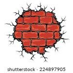 Cracked Birck Wall In Cartoon...