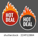 hot deal labels with flames | Shutterstock .eps vector #224912884