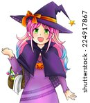 pretty witch of halloween in... | Shutterstock .eps vector #224917867