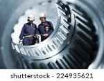 two engineers seen through a... | Shutterstock . vector #224935621