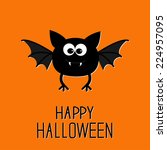 cute cartoon bat. happy... | Shutterstock . vector #224957095