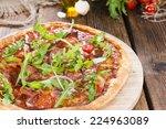 homemade ham pizza  with rocket ... | Shutterstock . vector #224963089