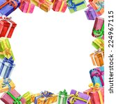 square frame of gifts.... | Shutterstock .eps vector #224967115