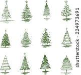 christmas trees | Shutterstock .eps vector #224973691
