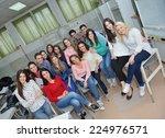 happy young teens group in... | Shutterstock . vector #224976571