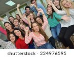 happy young teens group in