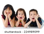 asian kids lying on the floor | Shutterstock . vector #224989099