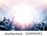 outdoor concert  happy people... | Shutterstock . vector #224994391