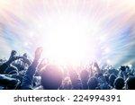 outdoor concert  happy people... | Shutterstock . vector #224994391
