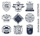 college baseball team emblems.... | Shutterstock .eps vector #225037945