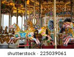 brightly painted horses on a...   Shutterstock . vector #225039061