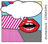 pop art lips   bubble | Shutterstock .eps vector #225041491
