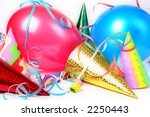New Year's Eve party props over white background - stock photo